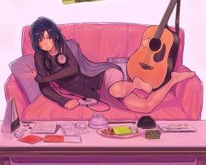 Rating: Safe Score: 16 Tags: barefoot bukimi_isan couch cropped food guitar headphones idolmaster instrument ipod kisaragi_chihaya paper skirt User: mattiasc02