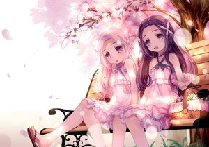 Rating: Safe Score: 55 Tags: 2girls 54hao cherry dress flowers food fruit hinata_(54hao) long_hair original petals pink_hair purple_eyes tree tsukikage_(54hao) twins User: RyuZU