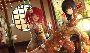 Rating: Safe Score: 37 Tags: animal aqua_eyes black_hair cat flowers japanese_clothes kimono kurosawa_dia kurosawa_ruby long_hair love_live!_school_idol_project love_live!_sunshine!! orein red_eyes twintails User: BattlequeenYume