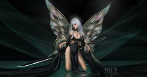 Rating: Safe Score: 69 Tags: breasts cleavage gray_hair green long_hair nopan original realistic red_eyes skirt_lift sword watermark weapon wings ydiya User: RyuZU