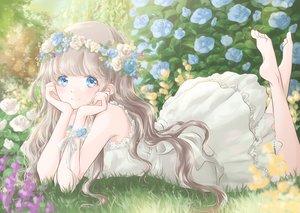 Rating: Safe Score: 51 Tags: aqua_eyes barefoot blush brown_hair dress flowers grass headdress hoshiibara_mato long_hair original summer_dress User: BattlequeenYume