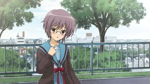 Rating: Safe Score: 30 Tags: blush brown_eyes building city game_cg glasses nagato_yuki purple_hair school_uniform short_hair suzumiya_haruhi_no_tsuisou suzumiya_haruhi_no_yuutsu tree User: SciFi