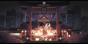 Rating: Safe Score: 96 Tags: black_hair brown_eyes building city hakurei_reimu japanese_clothes long_hair miko night shrine sky stars torii touhou wand watermark xtears_kitsune User: BattlequeenYume