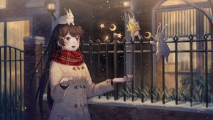 Rating: Safe Score: 32 Tags: animal blue_eyes blush brown_hair ji_dao_ji long_hair nijisanji rabbit scarf snow tsukino_mito User: RyuZU