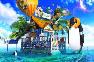 Rating: Safe Score: 31 Tags: animal bird black_hair book building clouds fish hat long_hair original penguin phone sky stairs swim_ring tahra tree water User: RyuZU