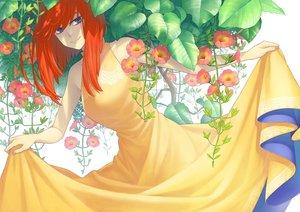 Rating: Safe Score: 16 Tags: blue_eyes dress flowers long_hair minami_(minami373916) orange_hair original skirt_lift white User: RyuZU