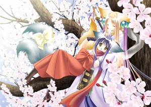 Rating: Safe Score: 25 Tags: 2girls animal_ears blonde_hair boots bow cherry_blossoms foxgirl katana koma_(tail_tale) long_hair multiple_tails purple_hair scarf soro sword tail tail_tale weapon yellow_eyes User: 秀悟