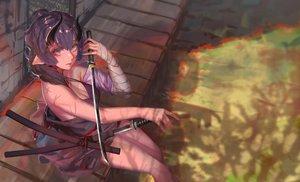 Rating: Safe Score: 54 Tags: aqua_eyes bandage braids breasts cleavage demon dress horns katana long_hair original pointed_ears ponytail purple_hair rsef scar summer_dress sword weapon User: otaku_emmy