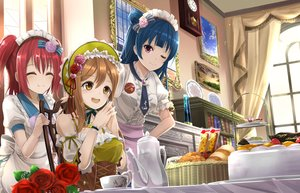 Rating: Safe Score: 63 Tags: blue_hair brown_hair drink flowers food fruit headdress kunikida_hanamaru kurosawa_ruby lolita_fashion long_hair love_live!_school_idol_project love_live!_sunshine!! orein pink_eyes red_hair ribbons short_hair tie tsushima_yoshiko wink yellow_eyes User: RyuZU