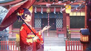 Rating: Safe Score: 65 Tags: japanese_clothes kimono l.bou original purple_hair red_hair short_hair shrine umbrella User: Fepple