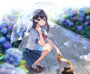 Rating: Safe Score: 108 Tags: animal brown_hair cat flowers long_hair mayo_(miyusa) original rain school_uniform skirt socks umbrella water User: BattlequeenYume