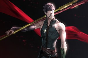 Rating: Safe Score: 46 Tags: all_male brown_hair diarmuid_ua_duibhne_(fate) fate/grand_order fate_(series) foo_midori gloves male necklace short_hair spear weapon User: otaku_emmy