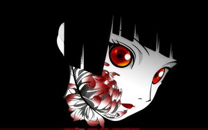 Rating: Safe Score: 130 Tags: black black_hair enma_ai jigoku_shoujo orange_eyes tattoo User: Doc97