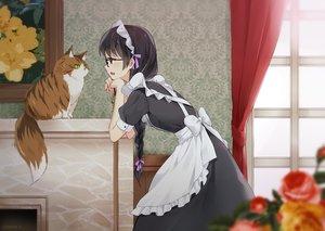 Rating: Safe Score: 107 Tags: animal apron black_eyes black_hair bow braids cat dress flowers glasses hazuki_natsu headdress long_hair maid original ponytail signed User: otaku_emmy