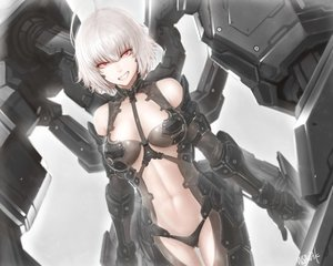 Rating: Safe Score: 99 Tags: armor bikini bodysuit breasts gloves mechagirl misawa_kei navel original red_eyes short_hair signed swimsuit white_hair User: otaku_emmy