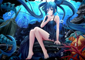 Rating: Safe Score: 231 Tags: animal barefoot blue_hair deep-sea_girl_(vocaloid) dress fish hatsune_miku jpeg_artifacts long_hair rayxray twintails underwater vocaloid water User: opai