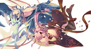 Rating: Safe Score: 52 Tags: 2girls anthropomorphism azur_lane blue_eyes blue_hair demon fujita_(condor) horns ikazuchi_(azur_lane) inazuma_(azur_lane) japanese_clothes kimono long_hair mask petals pink_hair pointed_ears ponytail red_eyes ribbons thighhighs User: otaku_emmy