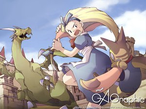 Rating: Safe Score: 12 Tags: alice_in_wonderland alice_(wonderland) animal blonde_hair cat dragon gagraphic logo tobe_sunaho watermark User: Oyashiro-sama