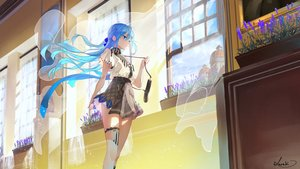 Rating: Safe Score: 70 Tags: aliasing aqua_eyes aqua_hair long_hair original saraki skirt thighhighs User: BattlequeenYume