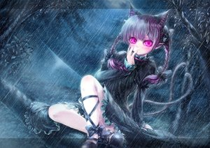 Rating: Safe Score: 101 Tags: animal_ears bow braids catgirl dress forest kaenbyou_rin misaki_(kyal_001) multiple_tails night pink_eyes pointed_ears purple_hair rain tail touhou tree twintails water User: luckyluna