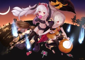 Rating: Safe Score: 76 Tags: 2girls animal_ears ayanami_(azur_lane) azur_lane bandage blonde_hair bunny_ears candy cosplay eyepatch garter gloves halloween hat headband horns koko_ne laffey_(azur_lane) loli lollipop long_hair magic moon navel night ponytail pumpkin red_eyes signed silhouette skirt thighhighs tree twintails white_hair witch witch_hat User: otaku_emmy