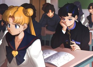 Rating: Safe Score: 68 Tags: aconitea black_hair blonde_hair blush book group kou_seiya sailor_moon school_uniform tsukino_usagi User: Flandre93