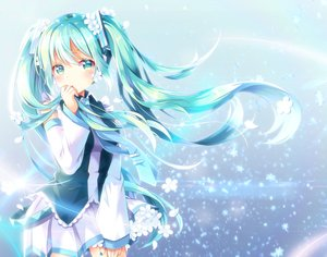 Rating: Safe Score: 61 Tags: aqua_eyes aqua_hair blue blush flowers hatsune_miku long_hair petals shiro_kuma_shake skirt tie twintails vocaloid User: BattlequeenYume