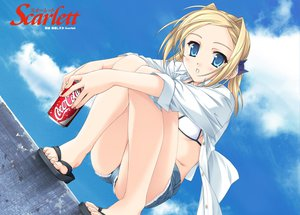 Rating: Safe Score: 10 Tags: bettou_izumishizuka_scarlett blonde_hair blue_eyes scarlett sky summer User: Oyashiro-sama