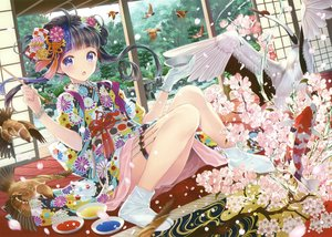 Rating: Safe Score: 74 Tags: animal bird black_hair blush cherry_blossoms fish flowers gloves japanese_clothes kimono long_hair purple_eyes scan tagme_(artist) tree User: BattlequeenYume