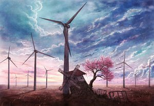 Rating: Safe Score: 217 Tags: cherry_blossoms clouds cola_(gotouryouta) flowers grass landscape nobody original petals ruins scenic sky tree windmill User: w7382001