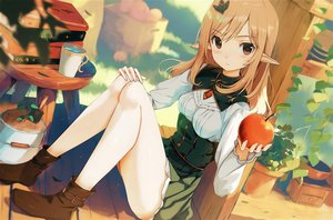 Rating: Safe Score: 99 Tags: blonde_hair book boots drink food fruit long_hair necklace original pointed_ears red_eyes waifu2x yoshitake User: ssagwp