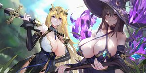 Rating: Safe Score: 64 Tags: 2girls aloe_(red:_pride_of_eden) blonde_hair brown_eyes brown_hair dress grass hat long_hair mage panties purple_eyes red:_pride_of_eden staff sword tagme_(character) underwear weapon witch_hat xiujia_yihuizi User: BattlequeenYume