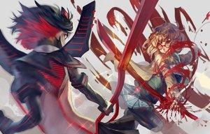 Rating: Safe Score: 47 Tags: 2girls black_hair blood crossover glasses gloves kill_la_kill kuriyama_mirai kyoukai_no_kanata matoi_ryuuko nanaya_(daaijianglin) pantyhose school_uniform short_hair skirt sword weapon User: RyuZU