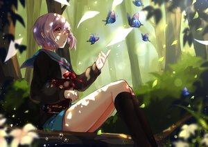 Rating: Safe Score: 100 Tags: blush book bow brown_eyes butterfly forest kneehighs leaves nagato_yuki purple_hair ribbons school_uniform short_hair skirt suzumiya_haruhi_no_yuutsu tree yuzhi User: kokiriloz