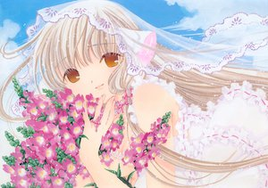 Rating: Safe Score: 25 Tags: blonde_hair brown_eyes chii chobits clamp clouds dress flowers long_hair sky User: Oyashiro-sama