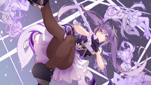 Rating: Safe Score: 69 Tags: braids genshin_impact keqing_(genshin_impact) long_hair pantyhose purple_eyes purple_hair scal2let skirt_lift sword twintails weapon User: BattlequeenYume