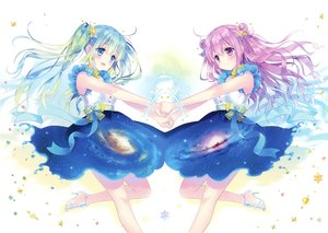 Rating: Safe Score: 56 Tags: 2girls aqua_eyes aqua_hair blush bow carnelian long_hair purple_eyes purple_hair scan skirt space stars twintails User: RyuZU