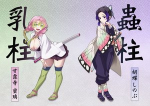 Rating: Safe Score: 55 Tags: 2girls black_hair blue_eyes braids breasts erect_nipples green_eyes japanese_clothes kanroji_mitsuri katana kimetsu_no_yaiba kochou_shinobu long_hair pink_hair skirt sword thighhighs translation_request twintails uniform v-mag weapon User: RyuZU