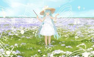 Rating: Safe Score: 36 Tags: cropped dress flowers grass hatsune_miku lf music summer_dress twintails vocaloid User: sadodere-chan