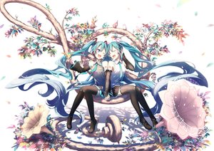 Rating: Safe Score: 47 Tags: animal aqua_eyes aqua_hair bird boots hatsune_miku long_hair microphone music skirt tagme_(artist) thighhighs tie tree twintails vocaloid wink User: luckyluna