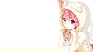 Rating: Safe Score: 147 Tags: animal_ears catgirl fang hoodie original pink_eyes pink_hair tail twintails umeno_(shio1205) white User: Hakha