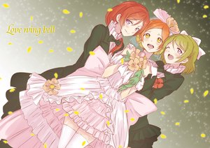 Rating: Safe Score: 54 Tags: alpha_(smashbox) bow dress hoshizora_rin koizumi_hanayo love_live!_school_idol_project nishikino_maki petals zettai_ryouiki User: FormX
