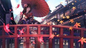 Rating: Safe Score: 125 Tags: aliasing autumn black_hair building butterfly clouds eisuto japanese_clothes kimono leaves long_hair original purple_eyes sky umbrella User: BattlequeenYume