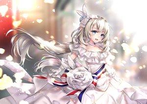 Rating: Safe Score: 90 Tags: aqua_eyes blonde_hair blush dress elbow_gloves fate/grand_order fate_(series) gloves hane_yuki headdress long_hair marie_antoinette_(fate/grand_order) necklace ribbons User: otaku_emmy