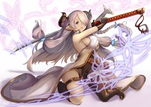 Rating: Safe Score: 162 Tags: gloves granblue_fantasy horns hukahire0120 katana long_hair narmaya_(granblue_fantasy) pointed_ears sideboob sword thighhighs weapon User: Flandre93