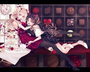 Rating: Safe Score: 66 Tags: 2girls blonde_hair brown_hair cake candy cherry_blossoms chocolate drink ereshkigal_(fate/grand_order) fate/grand_order fate_(series) flowers food ishtar_(fate/grand_order) long_hair pantyhose rose satsuki_(miicat) twintails User: BattlequeenYume