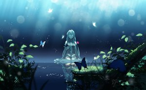 Rating: Safe Score: 116 Tags: amemura_(caramelo) aqua_eyes aqua_hair butterfly grass hatsune_miku leaves long_hair tie vocaloid water User: Flandre93