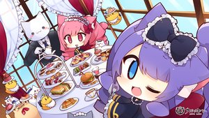 Rating: Safe Score: 23 Tags: animal animal_ears apron aqua_eyes azur_lane bird bow cake cat catgirl chibi drink fang food fruit gloves goth-loli headdress lime_(azur_lane) logo lolita_fashion long_hair maid manjuu_(azur_lane) muuran pink_eyes pink_hair pound_(azur_lane) purple_hair strawberry suit tail tie wink User: otaku_emmy