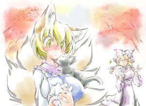 Rating: Safe Score: 35 Tags: 2girls animal animal_ears blush cat chen foxgirl ikuta_takanon multiple_tails tail touhou yakumo_ran yakumo_yukari User: SciFi