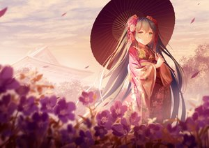 Rating: Safe Score: 41 Tags: building flowers green_eyes green_hair hatsune_miku japanese_clothes kimono long_hair rimuu twintails umbrella vocaloid watermark User: Nepcoheart
